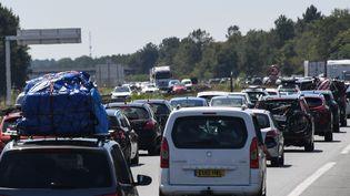 Des voitures sur l'autoroute A63, en Gironde, près de Bordeaux, le 3 août 2019. (MEHDI FEDOUACH / AFP)