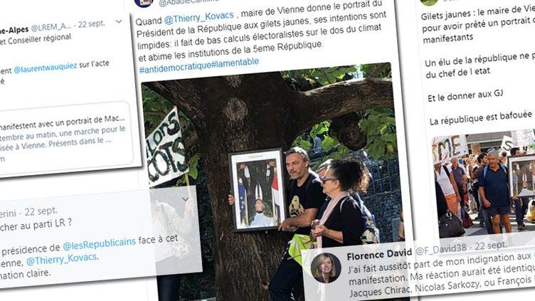 """Plusieurs tweets s'indignent du choix dumaire LR de Vienne, Thierry Kovacs, de prêter le portrait d'Emmanuel Macron à des """"gilets jaunes"""" pour manifester, le 21 septembre 2019. (STEPHANIE BERLU / RADIO FRANCE)"""