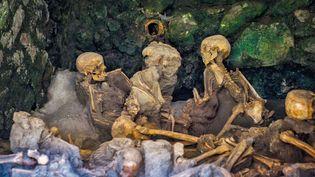 Squelettes de victimes de la catastrophe de l'éruption du Vesuve en l'an 79 à Herculanum, Italie, juin 2017 (BONY/SIPA)