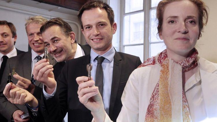 Les candidats de la primaire de l'UMP qui s'ouvre vendredi 31 mai 2013, De gauche à droite,Franck Margain, Jean-François Legaret, Pierre-Yves Bournazel et Nathalie Kosciusko-Morizet. (JACQUES DEMARTHON / AFP)