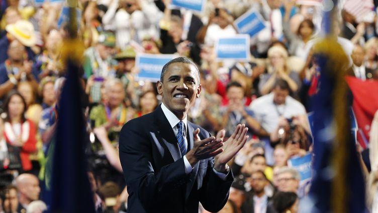 Le président américain, Barack Obama, à l'issue de son discours de clôture de la convention démocrate à Charlotte (Caroline du Nord), le 6 septembre 2012. (LARRY RUBENSTEIN / REUTERS)