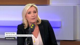 Marine Le Pen, présidente du Rassemblement national, invitée de franceinfo le 5 novembre2019. (FRANCEINFO / RADIOFRANCE)