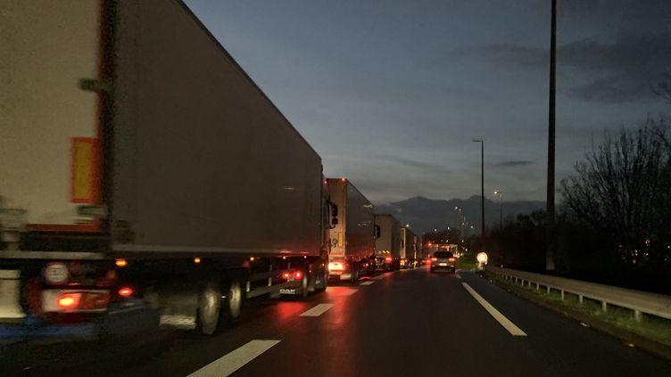 Des files de poids lourd sur l'A16 vers Calais (Pas-de-Calais). Photo d'illustration. (EMMANUEL BOUIN / FRANCE-BLEU NORD)