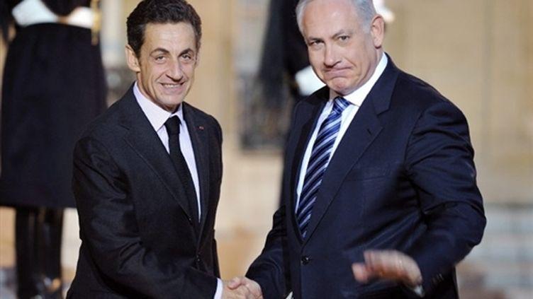 Nicolas Sarkozy et Benjamin Netanyahu à l'Elysée (11 novembre 2009) (AFP / Eric Feferberg)