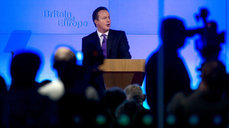 David Cameron prononce son discours sur l'avenir de l'Europe, le 23 janvier 2013 à Londres. (BEN STANSALL / AFP)