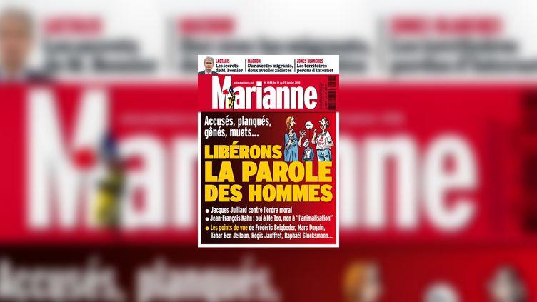 """La une de l'hebdomadaire """"Marianne"""", le 18 janvier 2018. (MARIANNE)"""