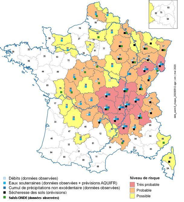Cette carte publiée jeudi 14 mai par le ministère de la Transition écologique indique les régions où des pénuries d'eau sont à craindre. (MINISTERE DE LA TRANSITION ECOLOGIQUE)