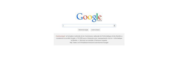 Capture d'écran de la page d'accueil de google.fr, le 8 février 2014. (  FRANCETV INFO )