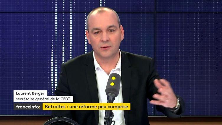 Laurent Berger, le secrétaire général de la CFDT, invité de franceinfo le 1er novembre 2019. (FRANCEINFO / RADIO FRANCE)
