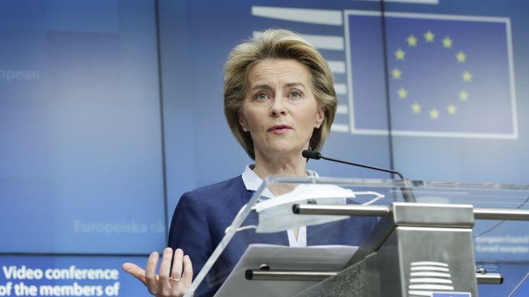 Ursula von der Leyen, la présidente de la Commission européenne, le 19 juin 2020. (OLIVIER HOSLET / EPA)