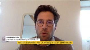 Emmanuel Loeb, président du syndicat des jeunes médecins, le 24 mars 2020 sur franceinfo. (FRANCEINFO)