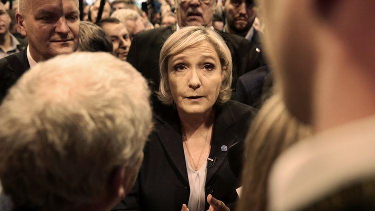 Marine Le Pen au Salon de l'agriculture le 28 février. (GEOFFROY VAN DER HASSELT / AFP)