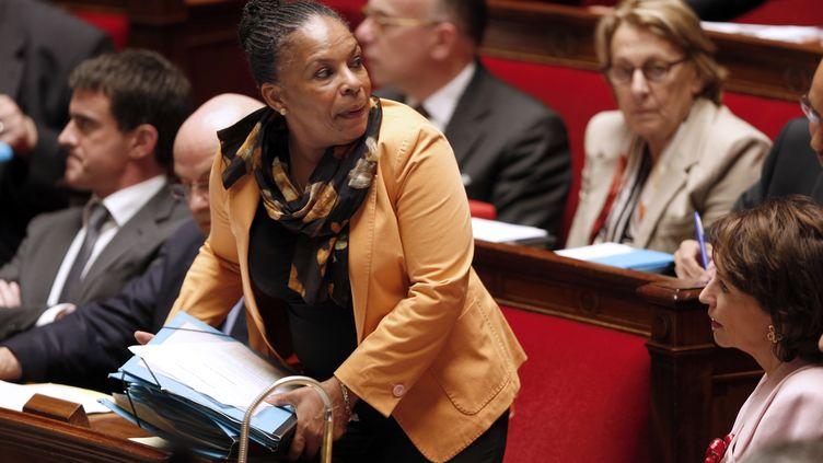 La ministre de la Justice, ChristianeTaubira, le 4 juin 2014 à l'Assemblée nationale. (FRANCOIS GUILLOT / AFP)