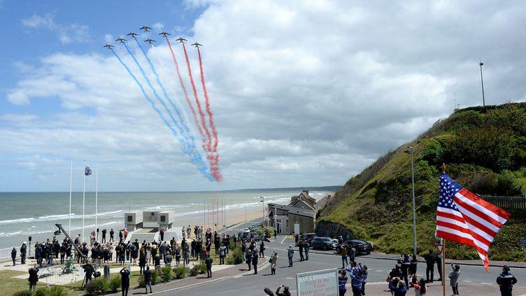 Lacérémonie internationale pour le 76e anniversaire du Débarquement et de la bataille de Normandiele 6 juin 2020, à Vierville-sur-Mer (Calvados). (MARC OLLIVIER / MAXPPP)