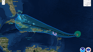 La trajectoire prévue de l'ouragan Irma, sur le site du National Hurricane center, le 4 septembre 2017. (NHC)
