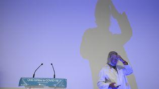 Didier Raoultlors d'une conférence de presse, le 27 août 2020, àMarseille (Bouches-du-Rhône). (CHRISTOPHE SIMON / AFP)