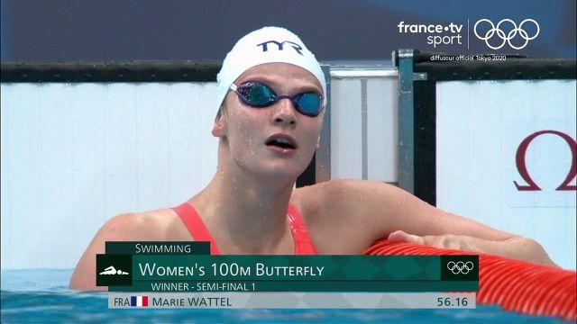 Quelle performance de Marie Wattel qui explose son record personnel en demi-finale du 100 mètres papillon. Elle sera l'une des favorites de la finale prévue la nuit prochaine.