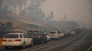 Des voitures quittent la ville de Batemans Bay en Nouvelle-Galles du Sud (Australie) pour se diriger vers le nord afin de fuir les incendies, le 2 janvier 2020. (PETER PARKS / AFP)