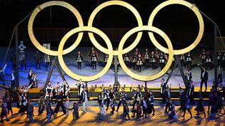 Lors de la cérémonie d'ouverture des JO de Tokyo (Japon), le 23 juillet 2021. (DYLAN MARTINEZ / AFP)