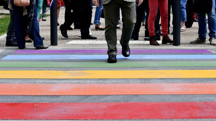 Un passage piéton aux couleursde l'arc-en-ciel LGBT à Périgueux, le 17 mai 2018 (photo d'illustration). (GEORGES GOBET / AFP)