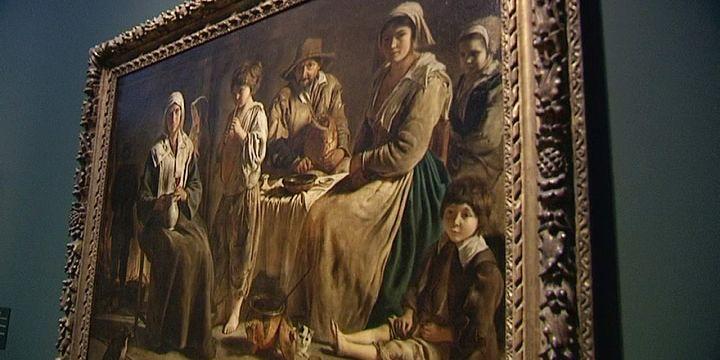 """Oeuvre """"Famille de paysans dans un intérieur"""", par les Louis Le Nain, actuellement au Louvre-Lens pour l'exposition """"Le Mystère Le Nain""""  (France 3 / Culturebox)"""