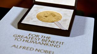 La médaille du prix Nobel, décernée à Charles M. Rice en médecine, le 8 décembre 2020 à New York. Photo d'illustration. (ANGELA WEISS / POOL / AFP)