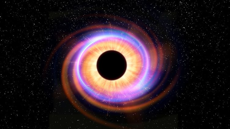 Modélisation d'un trou noir. L'attraction gravitationnelle qu'ils exercent est si puissante rien ne peut s'en échapper, ni la matière, ni la lumière. (VICTOR DE SCHWANBERG / SCIENCE PHO / VSC / AFP)