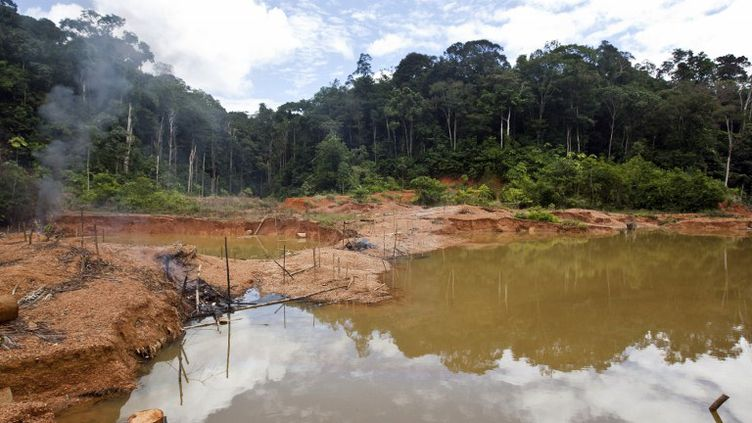 Un camp d'orpailleurs clandestins démantelé par l'opération Harpie àSaül, dans le centre de la Guyane, le 19 mai 2009. (JODY AMIET / AFP)