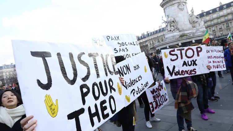 Des manifestations avaient eu lieu en février 2017 après la violente interpellation de Théo à Aulnay-sous-Bois (Seine-Saint-Denis). (MAXPPP)
