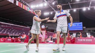 Faustine Noël et Lucas Mazur se sont qualifiés pour la finale de para badminton des Jeux paralympiques de Tokyo en catégorie SL3-SU5, samedi 4 septembre 2021. (G.MIRAND)