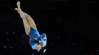 La gymnaste canadienne Brooklyn Moors lors des championnats du monde de gymnastique artistique 2019 à Stuttgart, en Allemagne.  (THOMAS KIENZLE / AFP)