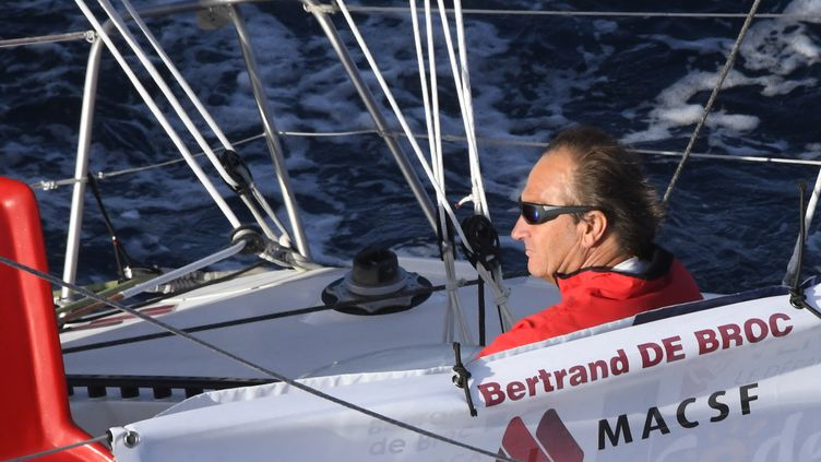 Bertrand de Broc, skipper, sur son bateau MACSF (DAMIEN MEYER / AFP)