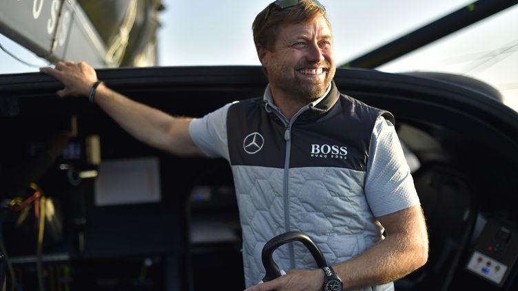 Le skipper gallois, Alex Thomson. (LOIC VENANCE / AFP)