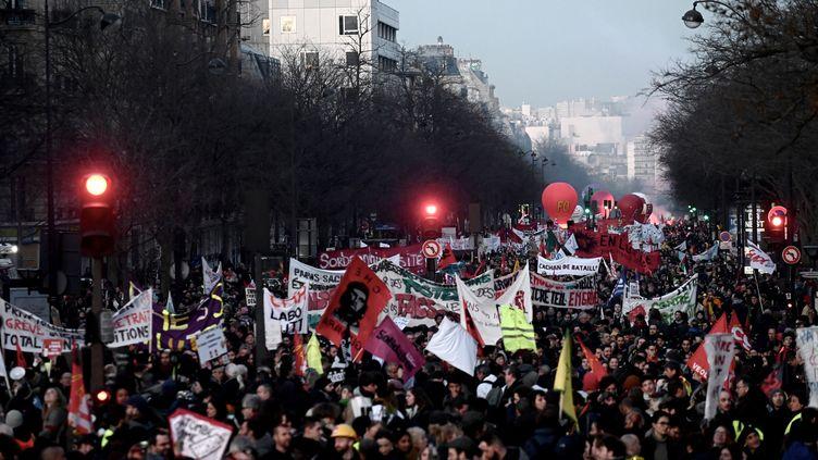 Manifestation parisienne contre la réforme des retraites du 16 janvier 2020 (photo d'illustration). (PHILIPPE LOPEZ / AFP)