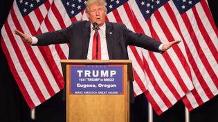 Donald Trump lors d'un meeting à Eugene (Oregon, Etats-Unis), le 6 mai 2016. (ROB KERR / AFP)