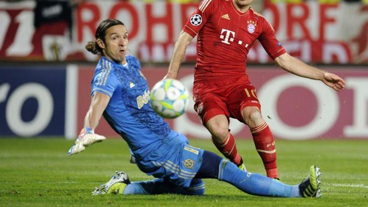 Le portier marseillais Elinton Andrade, impuissant sur le deuxième but du Bayern
