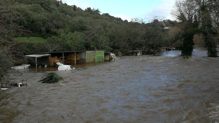 La rivière Prunelli est sortie de son lit, àPorticcio, en Corse du Sud, le 21 décembre 2019. (PASCAL POCHARD-CASABIANCA / AFP)