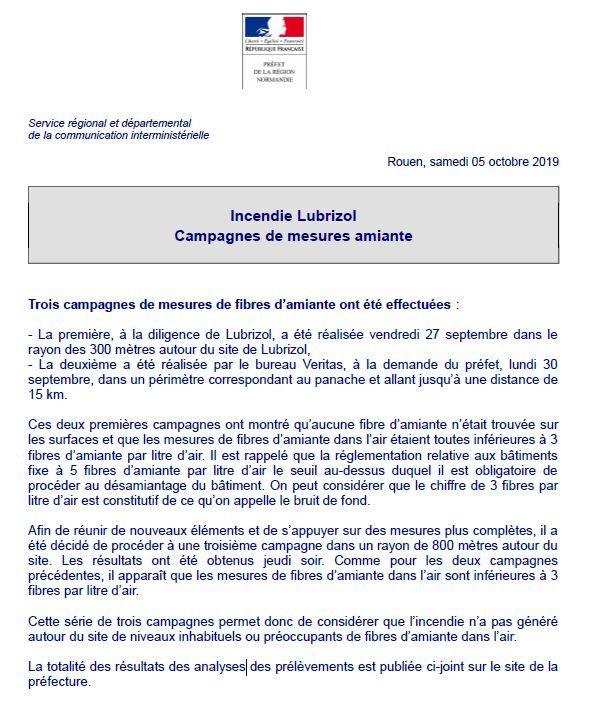 Capture écran d'un communiqué de la préfecture de Normandie, le 5 octobre 2019. (PREFECTURE DE NORMANDIE)