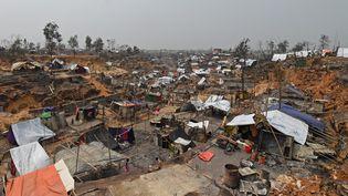 Le camp de réfugiés Rohingya Cox'x Bazar (Bangladesh), quelques jours après l'incendie mortel, le 24 mars 2021 (MUNIR UZ ZAMAN / AFP)