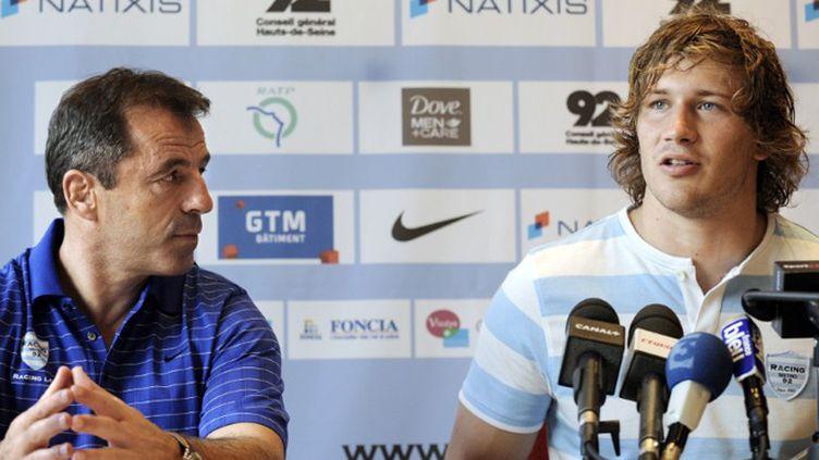 Pierre Berbizier et François Steyn en conférence de presse