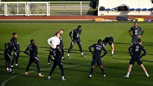 L'équipe de France de football en pleine préparation à Clairefontaine. (ANNE-CHRISTINE POUJOULAT / AFP)