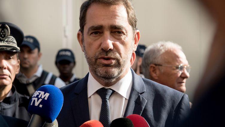 Le ministre de l'Intérieur, Christophe Castaner, s'adresse à la presse, le 21 octobre 2018, àChampigny-sur-Marne (Val-de-Marne). (BERTRAND GUAY / AFP)