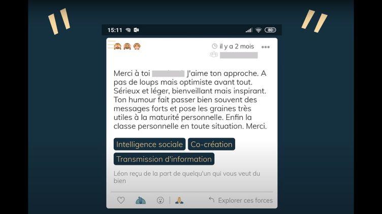 Un exemple de compliment anonyme collecté par l'appli Listen Léon. (LISTEN LEON)