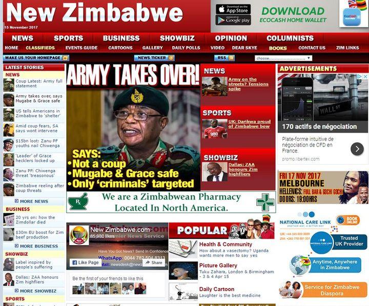 """«L'armée prend le relais», titre «The New Zimbabwe». Elle «expliquequ'il ne s'agit pas d'un coup d'Etat, que Mugabe et Grace sont en sécurité et que seuls sont visés des """"criminels""""». (DR)"""