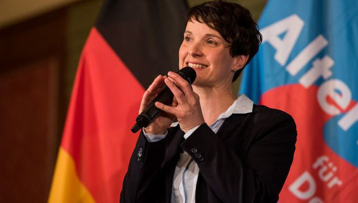 Frauke Petry lors d'une réunion à Munich (Mai 2016). (Lukas Barth / ANADOLU AGENCY)
