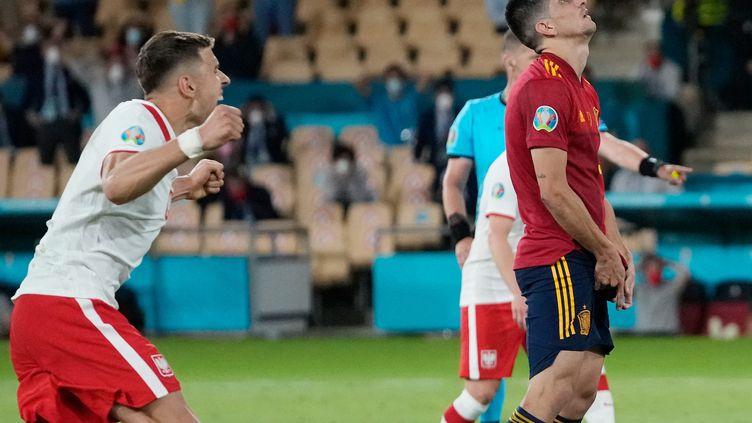 Gerard Moreno a raté un penalty lors du match entre l'Espagne et la Pologne, le 19 juin (THANASSIS STAVRAKIS / POOL)