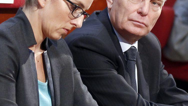La ministre de l'Ecologie, Delphine Batho, et le Premier ministre, Jean-Marc Ayrault, en septembre 2012 au Conseil économique et social. (JACKY NAEGELEN / AFP)