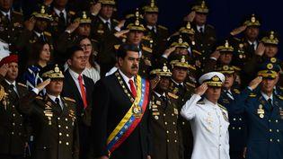 Le président vénézuélien Nicolas Maduro assiste à une cérémonie militaire à Caracas, samedi 4 août 2018 à Caracas. (JUAN BARRETO / AFP)