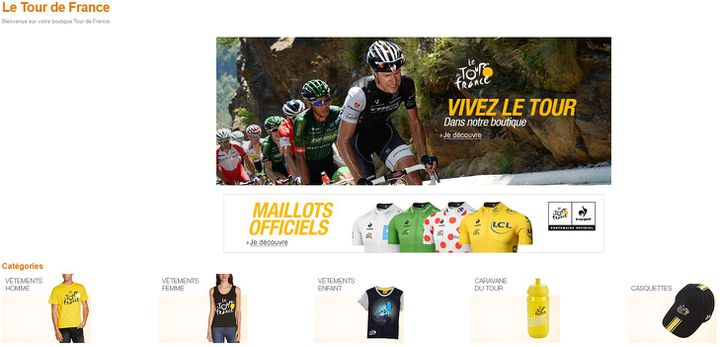 Capture écran de la boutique du Tour de France sur Amazon.fr, le 15 juillet 2015. (AMAZON)