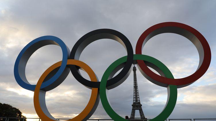 Les anneaux olympiques sur l'esplanade du Trocadéro (illustration). (LUDOVIC MARIN / AFP)
